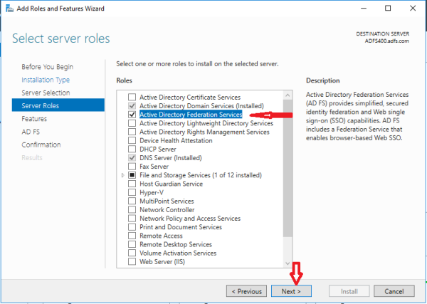 Install, Configure ADFS 2016 role for O365 Single Sign On with ADFS